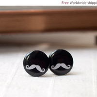 Moustache cufflinks Black and white Groom by beautyspot on Etsy