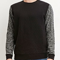 Marled-Sleeve Quilted Pullover
