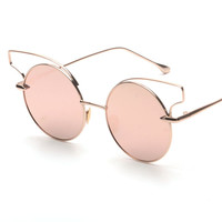 New vintage steampunk fashion sunglasses round designer hollow out gold metal silver blue rose gold mirror sun glasses women UV
