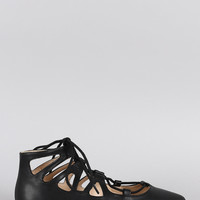 Wild Diva Lounge Ballet Caged Lace Up Pointy Toe Flat