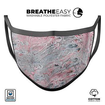 Abstract Wet Paint Subtle Pink and Gray - Made in USA Mouth Cover Unisex Anti-Dust Cotton Blend Reusable & Washable Face Mask with Adjustable Sizing for Adult or Child