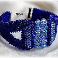 Beaded royal blue seed bead cuff bracelet, OOAK jewelry, Right Angle Weave