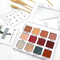 NOVO Brand Eyeshadow palette 12 Color Eye Shadow Marble Eyeshadow Renaissance  Beginners Waterproof