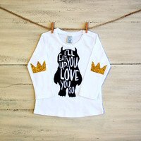 Women's Glitter T Shirt Ill Eat You Up I Love You So Long Sleeve Tee with Glitter Crown Elbow Patches - Available in Infant Toddler Youth and Womens Sizes