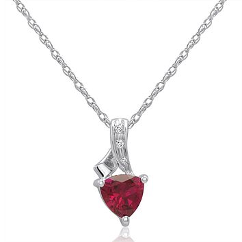 Trillion Lab Created Ruby and Diamond Pendant-Necklace in Sterling Silver