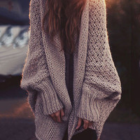 Khaki Bat Sleeve Casual Loose Knit Shawl Cardigan