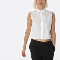 T By Alexander Wang Cropped Boxy Sleeveless Shirt-White