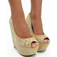 University Heights Nude Rhinestone Wedges