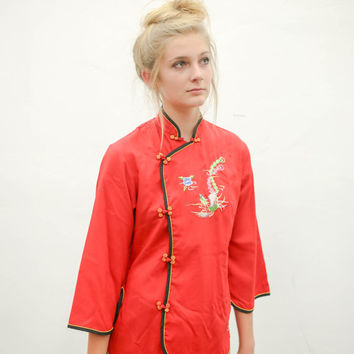 90's red chinese silk shirt, vintage asian fashion 1980s 1990s, china embroidered black, 90s fvtg tumblr, soft grunge, urban outfitters