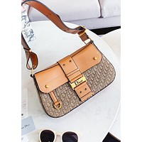 Dior Fashion New More Letter Leather Shoulder Bag Women Crossbody Bag Brown