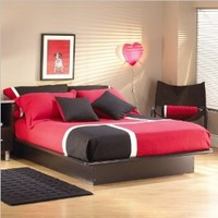 """South Shore Furniture, Basic Collection, Queen Platform Bed with Moulding 60"""", Black"""