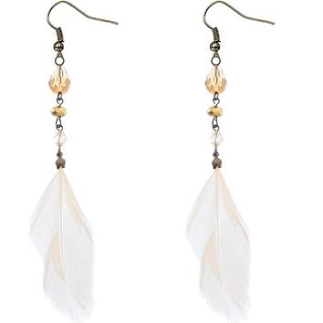 Transparent pink beads and feather earrings