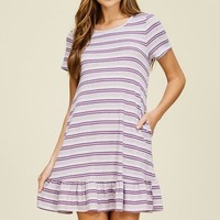Ruffle Striped Short Sleeve Dress - Lavender