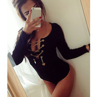 Metal Chain Sexy Bodysuit Women Tops Long Sleeve Jumpsuit Casual Bodysuit Rompers womens jumpsuit Overalls SN9