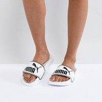 Puma Leadcat Sliders In White at asos.com