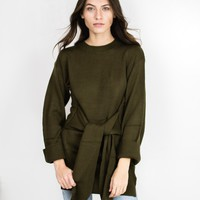 Front Tie Long Sweater