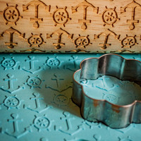 Anchors Away design, Patterned Rolling pin -  laser engraved rolling pin, embossing rolling pin! by Everlasting Doodle