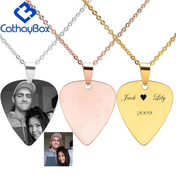 Personalized Stainless Steel Guitar Pick Blank Dog Tag Engrave Photo Name Charm Key Chain Pendant W/ SS Chain 50CM