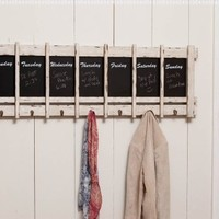 Days of the Week Wooden Chalkboard with Hooks