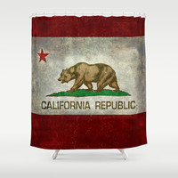 California Republic state flag Shower Curtain by Bruce Stanfield