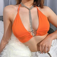 2020 new women's fluorescent color lace-up tube top