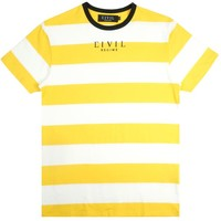 Civil Embroidered Stripe Tee in Yellow