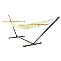 Sunnydaze Cotton Single Person 11 Foot Small Spreader Bar Rope Hammock with Stand, 350 Pound Capacity
