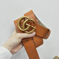 GUCCI Tide brand classic double G retro simple smooth buckle belt