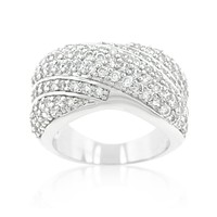 Flair Cluster Fashion Pave Wide Band Ring   7ct
