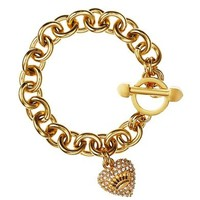 Pave Heart & Toggle Luxe Bracelet in Rose Gold