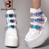 BONJOMARISA Dropshipping INS Hot Brand High Platform Ankle Boots Women 2020 Fashion PVC Strap Decorating High Wedges Shoes Woman