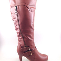 Tan Boots with Side Zipper and Buckle Design