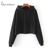 Zoe Saldana 2017 Autumn Crop Top Solid Hooded Sweatshirt Long Sleeve Casual Pullovers Hoodies For Women