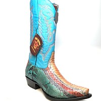 Los Altos Multi-Color Python Cowgirl Boots