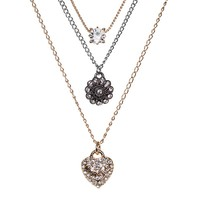 Juicy Couture Heart & Flower Multistrand Necklace