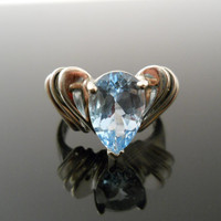 Topaz Ring, Sterling Silver Ring, Size 8 Ring, Scalloped Ring, Sterling Ring, 925 Ring, Blue Topaz Ring, Statement Ring, Blue Stone Ring