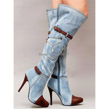 Women Fashion Pointed Toe Blue Denim Over Knee Boots Patchwork Long High Heel Jean Boots Motorcycle Boots