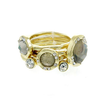 Gray Opal Crystal Stackable Ring Set