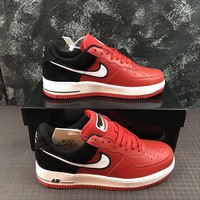 Nike Air Force 1 AF1 Low Two Tongue Logo Red Black Shoes - Best Online Sale