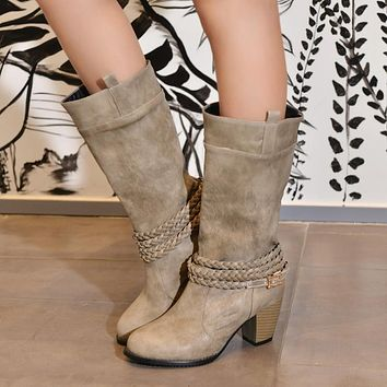 Women Round Toe Buckle Belt Knee High Boots Thick Heeled 9682