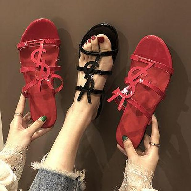 Image of YSL Outer Wear Sandals And Slippers Women Summer New Style Sandals Flat Women Shoes