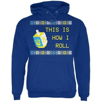 ESBGQ9 Hanukkah This is How I Roll Dreidel Ugly Christmas Sweater Mens Hoodie