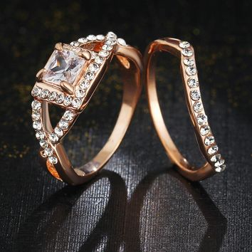 17KM 2017 New Vintage Charm Crystals Ring Silver Color Zircon Wedding Rings For Women Lover Engagement for Gift Anillos Jewelry