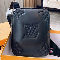 LV Fashion New Monogram Print Leather Shoulder Bag Crossbody Bag Black