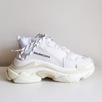 NIB Balenciaga Triple S Sneaker White Leather Speed Flat Trainers Mens sz 43 46
