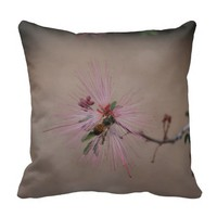 Bee on Cactus Blossom Pillow