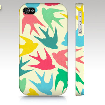 Iphone case, iPhone 4s case, iPhone5 case, iPhone4 case, hipster, illustration, colorful birds pattern, pink, mint, green, aqua
