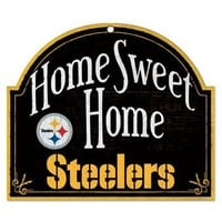 "NFL Pittsburgh Steelers 10-by-11 inch Wood ""Home Sweet Home"" Sign"