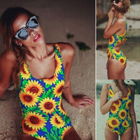 Sexy Push Up Monokini Sunflower Women Strap High Waist Bikini Set Female One Piece Swimsuit Beachwear Lady Bathing Suit Plavky