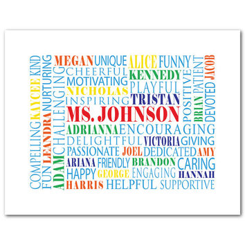 Customizable Teacher Appreciation Gift - Typography - Personalize with children's names and qualitites - Personalized School Gift